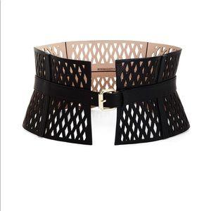 BCBG Laser Cutout Faux-Leather Corset Waist Belt